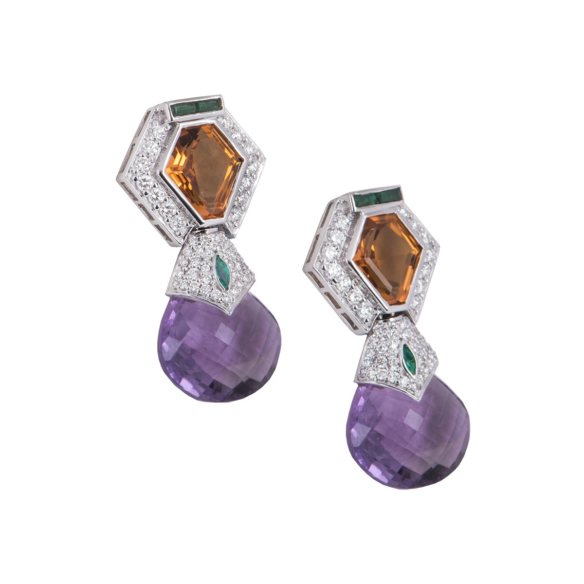 White Gold Diamond, Amethyst And Citrine Earrings
